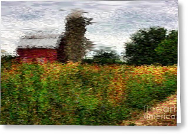 Van Gogh Style Greeting Cards - Van Gogh at the barn Greeting Card by David Bearden