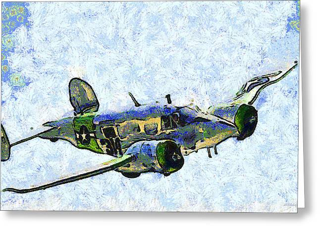 Military Airplanes Greeting Cards - Van Gogh Flies A Twin Beech C-45 Expeditor . 7D15392 Greeting Card by Wingsdomain Art and Photography