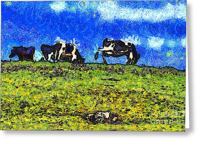 Marin County Greeting Cards - Van Gogh Goes Cow Tipping 7D3290 Greeting Card by Wingsdomain Art and Photography