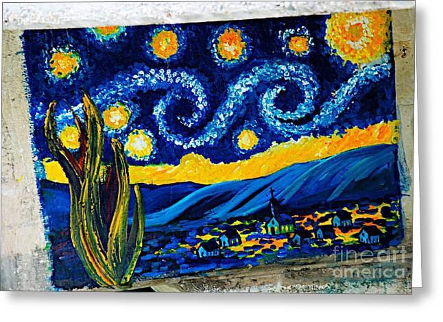 Ken Williams Greeting Cards - Van Gogh Graffiti Greeting Card by Ken Williams