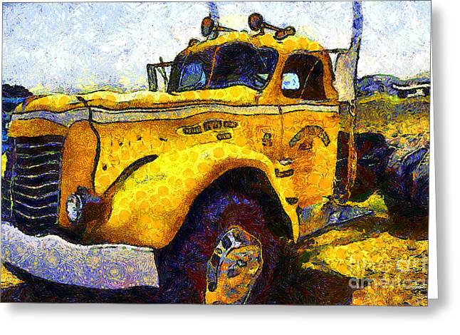 Collar Digital Art Greeting Cards - Van Gogh Hauls Across America In A Semi-Trailer Truck . 7D15483 Greeting Card by Wingsdomain Art and Photography