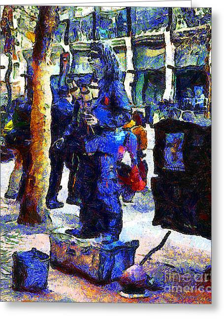 Downtown San Francisco Greeting Cards - Van Gogh Is Captivated By A San Francisco Street Performer . 7D7246 Greeting Card by Wingsdomain Art and Photography