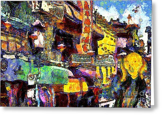 Grant Street Greeting Cards - Van Gogh Meets Up With The Screamer in San Francisco Chinatown . 7D7174 Greeting Card by Wingsdomain Art and Photography