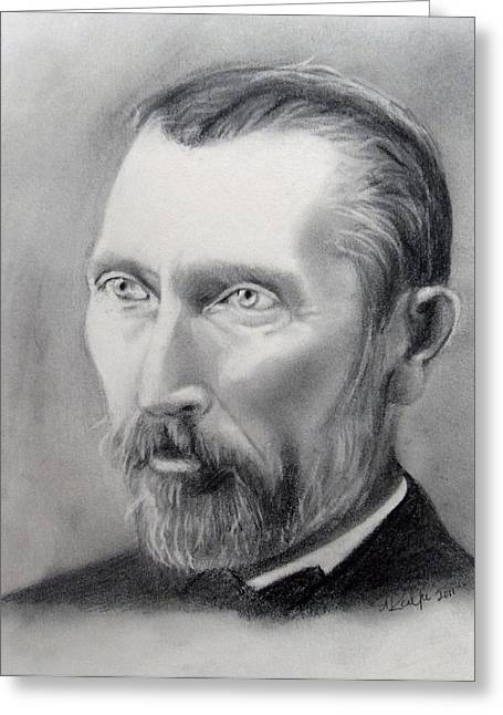Van Gogh Pencil Portrait Greeting Card by Andrea Realpe