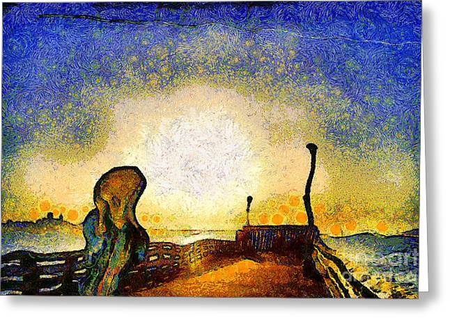 The Scream Greeting Cards - Van Gogh Screams On The Berkeley Pier Under a Starry Night . IMG3188 Greeting Card by Wingsdomain Art and Photography