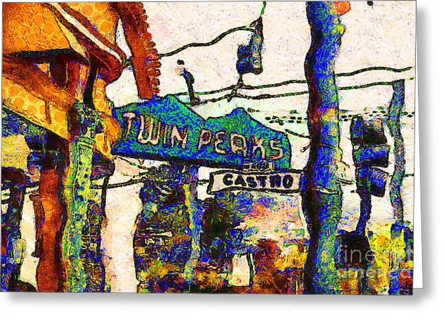 Castro Greeting Cards - Van Gogh Takes A Wrong Turn And Discovers The Castro In San Francisco . 7D7547 Greeting Card by Wingsdomain Art and Photography