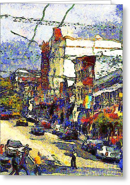 Eureka Valley Greeting Cards - Van Gogh Takes The Right Turn And Rediscovers The Castro In San Francisco . 7D7572 Greeting Card by Wingsdomain Art and Photography