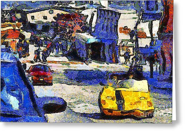 Beach Street Greeting Cards - Van Gogh Tours The Streets of San Francisco 7D14100 Greeting Card by Wingsdomain Art and Photography