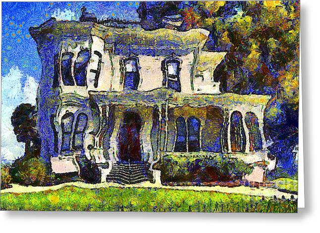 Van Gogh Visits The Old Victorian Camron-Stanford House in Oakland California . 7D13440 Greeting Card by Wingsdomain Art and Photography