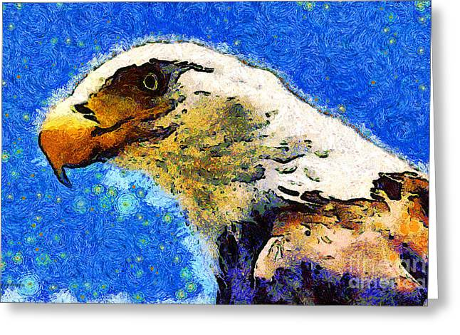 July 4th Greeting Cards - Van Gogh.s American Eagle Under A Starry Night . 40D6715 Greeting Card by Wingsdomain Art and Photography
