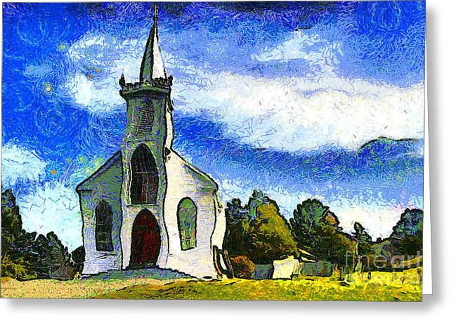 Back Roads Digital Art Greeting Cards - Van Gogh.s Church On The Hill 7D12437 Greeting Card by Wingsdomain Art and Photography