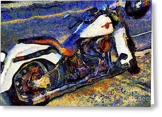 Made In The Usa Digital Greeting Cards - Van Gogh.s Harley-Davidson 7D12757 Greeting Card by Wingsdomain Art and Photography