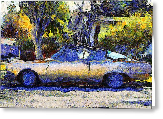 Made In The Usa Digital Greeting Cards - Van Gogh.s Plymouth Barracuda in Suburbia . 7D12724 Greeting Card by Wingsdomain Art and Photography