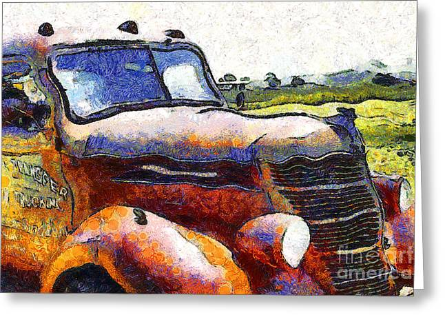 Van Gogh.s Rusty Old Truck . 7D15509 Greeting Card by Wingsdomain Art and Photography
