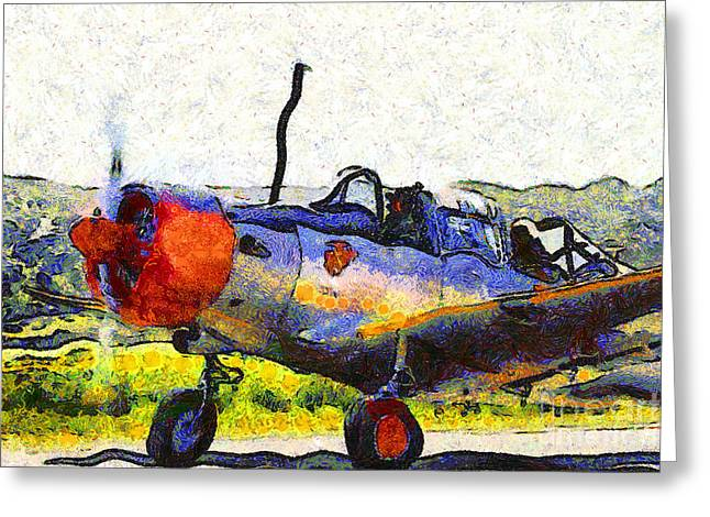 Valiant Greeting Cards - Van Gogh.s Single Engine Propeller Airplane 7d15754 Greeting Card by Wingsdomain Art and Photography