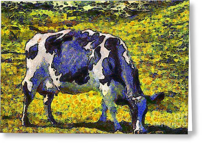 Backroad Digital Art Greeting Cards - Van Gogh.s Starry Blue Cow . 7D16140 Greeting Card by Wingsdomain Art and Photography