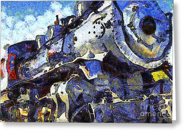 Van Gogh.s Steam Locomotive . 7d12980 Greeting Card by Wingsdomain Art and Photography
