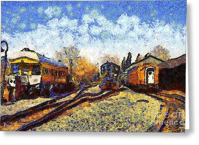 Southern Pacific Greeting Cards - Van Gogh.s Train Station 7D11513 Greeting Card by Wingsdomain Art and Photography