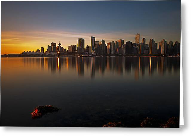 Burrard Inlet Greeting Cards - Vancouver Golden Sunrise Greeting Card by Jorge Ligason