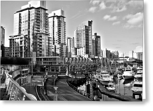 Vancouver Greeting Cards - Vancouver Harbour BW Greeting Card by Kamil Swiatek