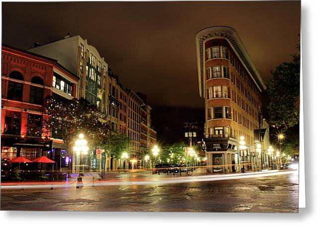 Vancouver Greeting Cards - Vancouver night scene in Gastown Greeting Card by Pierre Leclerc Photography