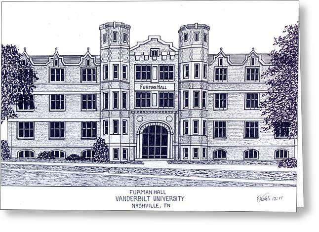 College Campus Buildings Drawings Greeting Cards - Vanderbilt-Furman Hall Greeting Card by Frederic Kohli
