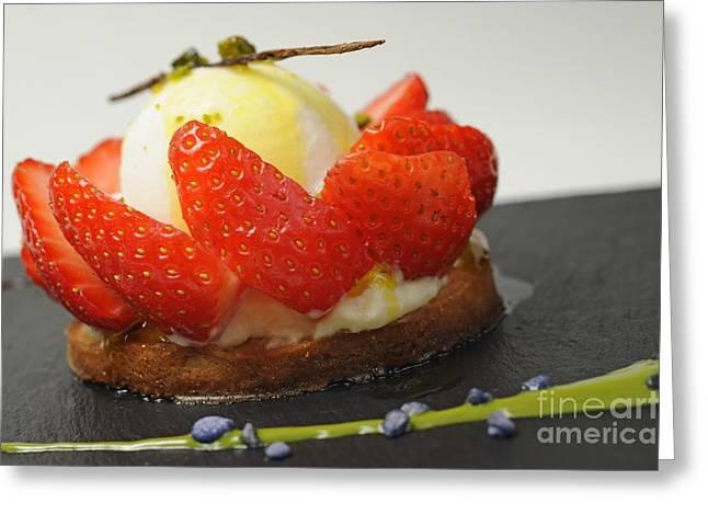 Vanilla Ice Cream Greeting Cards - Vanilla Ice Cream with strawberries fruits around Greeting Card by Sami Sarkis