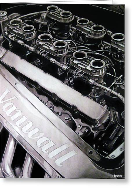 Artwork Pastels Greeting Cards - Vanwall 12-Cyl Engine Greeting Card by Uli Gonzalez