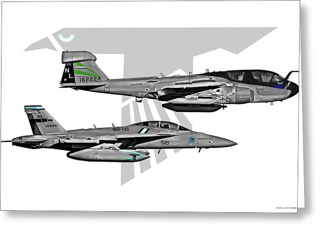 Fa-18 Greeting Cards - VAQ-135 Prowler and Growler Greeting Card by Clay Greunke