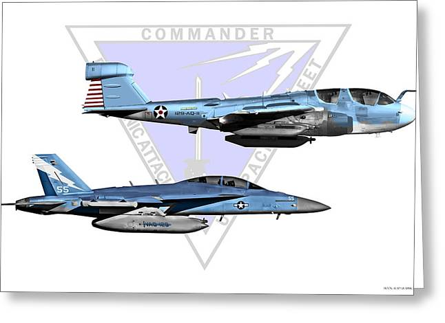 Fa-18 Greeting Cards - VAQ Centennial Jets Greeting Card by Clay Greunke
