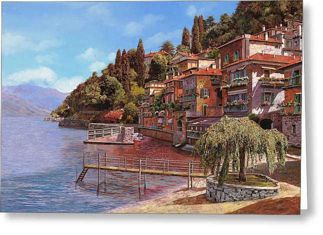 Bellagio Greeting Cards - Varenna on Lake Como Greeting Card by Guido Borelli