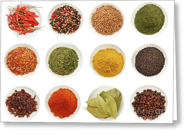 Cayenne Greeting Cards - Variety of different spices iin bowls  Greeting Card by Sandra Cunningham