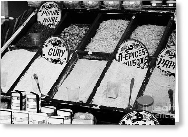 various spices including curry black pepper couscous and papricka on stall at the market in nabeul Greeting Card by Joe Fox