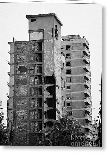 Ammochostos Greeting Cards - Varosha Forbidden Zone With Salaminia Tower Hotel Abandoned In 1974 Turkish Invasion Famagusta Greeting Card by Joe Fox