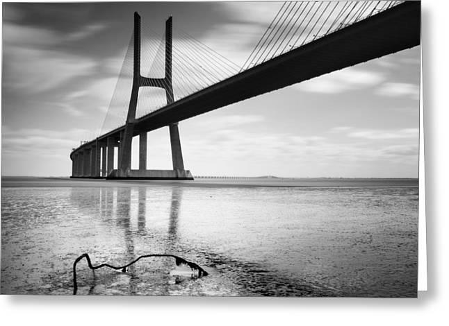 Vasco Da Gama Bridge I Greeting Card by Nina Papiorek