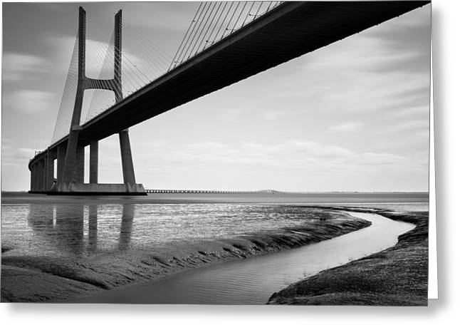 Portugal Art Greeting Cards - Vasco da Gama Bridge IV Greeting Card by Nina Papiorek