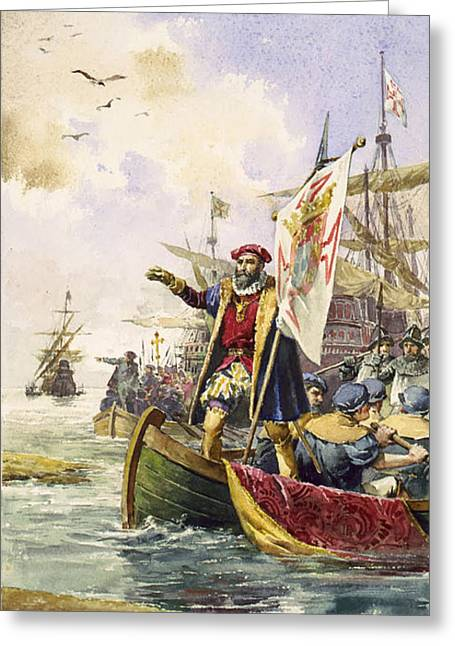 Sea Route Greeting Cards - Vasco Da Gama, Portuguese Explorer Greeting Card by Photo Researchers