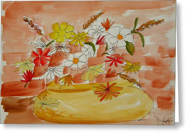 Denny Casto Greeting Cards - Vase and Flowers Greeting Card by Denny Casto