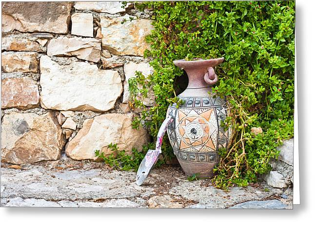 Digging Greeting Cards - Vase and trowel  Greeting Card by Tom Gowanlock