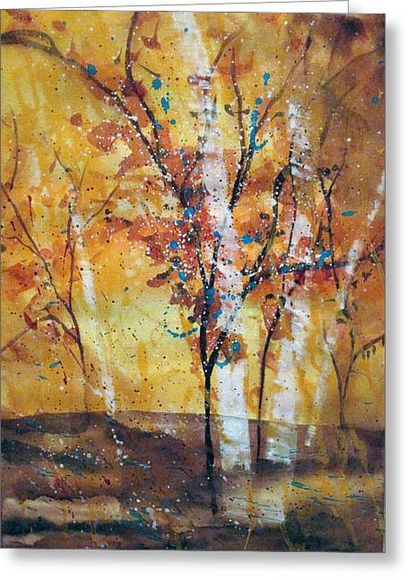 Wet Into Wet Watercolor Greeting Cards - Vase-Inspired Trees Greeting Card by Chris Blevins