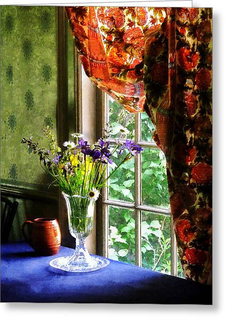 Vase Of Flowers And Mug By Window Greeting Card by Susan Savad