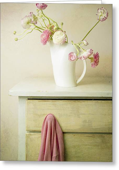 No Clothing Greeting Cards - Vase Of Flowers And Sweater On Knob Greeting Card by Marlene Ford