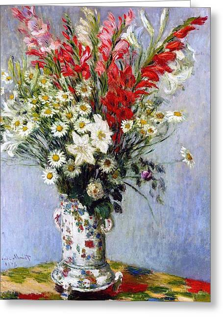 Ceramic Greeting Cards - Vase of Flowers Greeting Card by Claude Monet