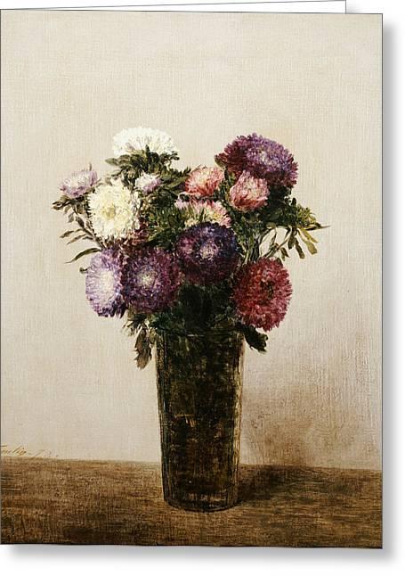 Tasteful Greeting Cards - Vase of Flowers Greeting Card by gnace Henri Jean Fantin-Latour