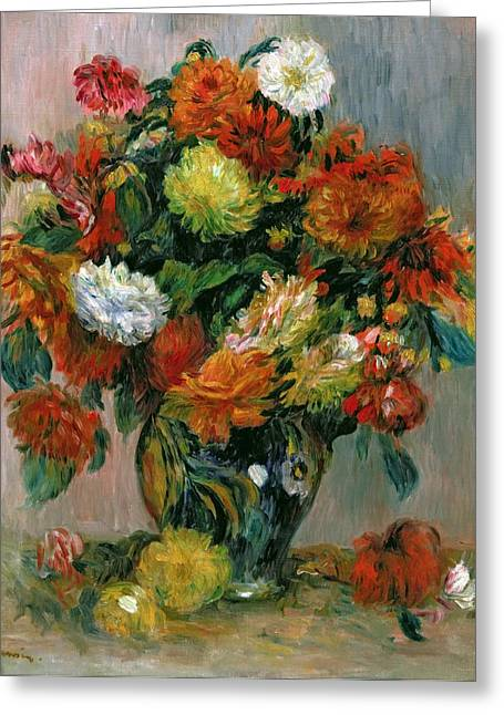 Blossoming Greeting Cards - Vase of Flowers Greeting Card by Pierre Auguste Renoir