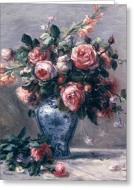 Vase Greeting Cards - Vase of Roses Greeting Card by Pierre Auguste Renoir