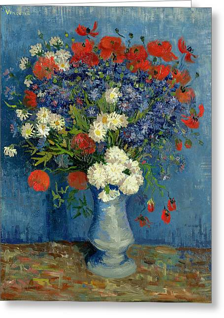 Botanicals Greeting Cards - Vase with Cornflowers and Poppies Greeting Card by Vincent Van Gogh