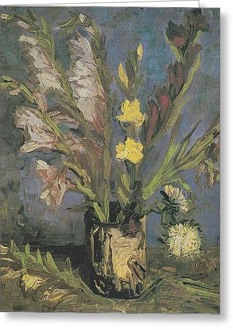 Van Gogh Influence Greeting Cards - Vase with Gladioli Greeting Card by Vincent Van Gogh