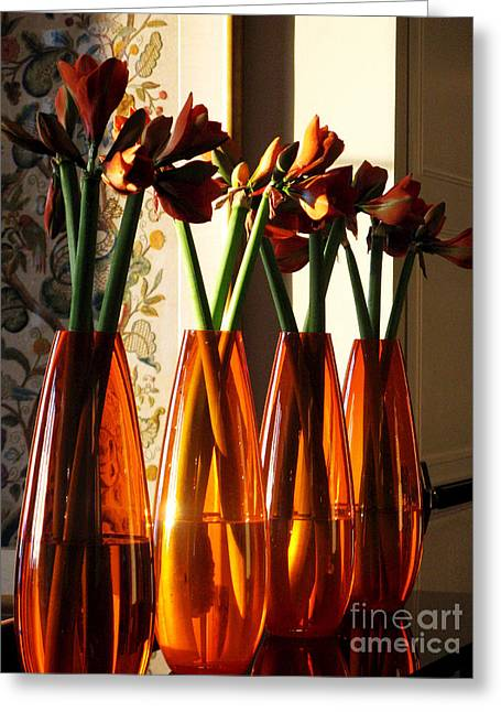 """flower Still Life Prints"" Greeting Cards - Vases  Greeting Card by Mic DBernardo"