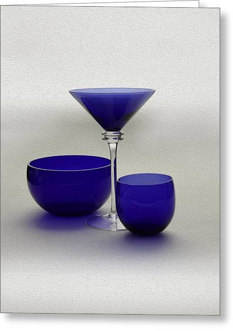 Vase Glass Greeting Cards - Vases of blue Greeting Card by Gennadiy Titkov